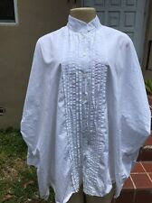 KRIZIA WHITE COTTON RUFFLE FRONT OVERSIZE CASUAL BLOUSE Sz 46 MADE IN ITALY