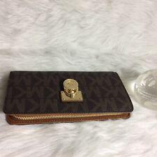 Michael Kors Hamilton Traveler Zip Around Leather Wallet Clutch. Brown