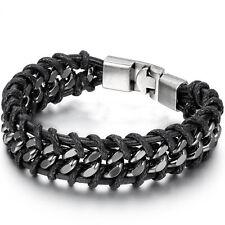 Black Braided Silver Stainless Steel Cuban Chain Men's Fashion Bracelet Bangle