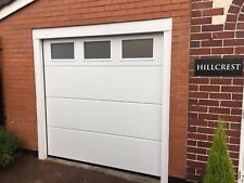 WHITE SECTIONAL GARAGE DOOR FREE 3 WINDOWS TO TOP PANEL CLEAR STIPPLED DESIGN