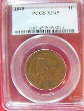 1848 Large Cent Braided Hair  PCGS XF 45 Cert# 20398823 REDUCED