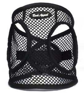 """Dog Harness BLACK Step In Netted EZ Wrap Choke Free Up to 25"""" Chest Bark Appeal"""