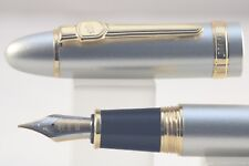 Jinhao No. 159 Brushed Silver Medium Fountain Pen with Gold Plated Trim