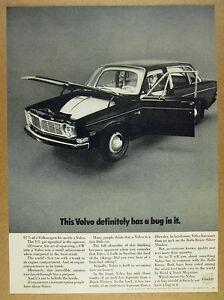 1968 Volvo 144 Sedan with VW Volkswagen Beetle inside photo vintage print Ad