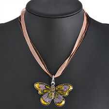 Fashion Jewelry Enamel Butterfly/Dragonfly Crystal Silver Pendant Necklace Chain