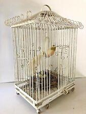 "Antique Bird Cage White Wrought Iron Birdcage Metal Wedding Shabby Decor 22"" Vtg"