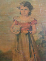 "Vintage Jane Freeman ""Chums"" Girl and Kitten Print Wooden Wall Art Decor"