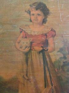"Vintage Jane Freeman ""Chums"" Girl and Kitten Print Wooden Wall Art Decor"