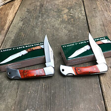 2 Pc Lot Hardwood Handle Camping Hunting Survival Folding Lockback Pocket Knife