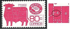 uad31 Mexico Exporta plate error MNH paper4, perf11.5, position 50