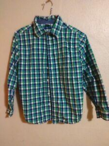 EUC Boys Gymboree Sz L Large 10-12 - Green Plaid Check Fancy Button Down Shirt