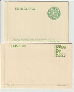 IRELAND - EIRE 9d & 26p POSTAL STATIONERY ITEMS- UNUSED