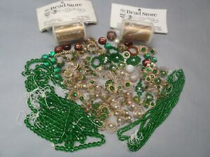 Unfinished Beaded Jewelry Green cut glass Beads & 2 spools wires