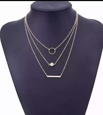 Multi Layer Circle Round Bar Pendant Necklace  Gold toned