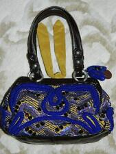 Jamin Puech Royal Blue Beaded Silk & Patent Leather Small Hard Framed Bag EUC