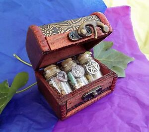 Witch Bottle Kit in Wooden Chest Love, Luck & Wealth Magical Herb Spell Talisman