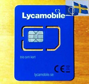 Lycamobile Prepaid SE Schweden Sim Karte Plug & Play ohne Ausweis