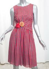 MOSCHINO CHEAP AND CHIC Womens Red Turquoise Polka-Dot Ruched Dress US 2/XS