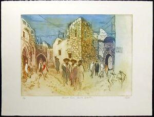 "William Papas ""Ararat Road, Jewish Quarter"" Hand Signed Etching, Jerusalem, OBO!"