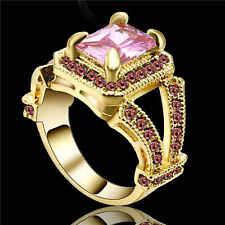 Size 9 Pink Sapphire  Ring Women's Yellow Rhodium Plated Wedding Band