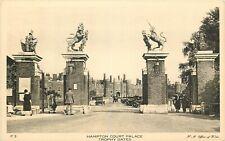 Sepia Postcard England J015 Real Photo Hampton Court Palace Trophy Gates Lions