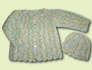 Handmade  Baby Häkeljacke  Jacke + Mütze  Gr 80 86 hellgrün gelb Melange neu DIY