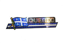QUEBEC CANADA PROV. FLAG Metallic LONG Bumper STICKER Decal .. 11.75 X 3 INCH
