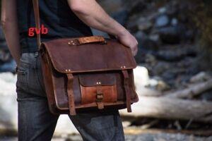 Large unisex Leather Vintage Messenger Shoulder Men Satchel Laptop Briefcase Bag