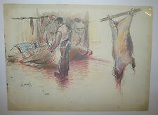 RENEFER (Les BOUCHERS) - c.1900. DESSIN signé au crayon par l'artiste