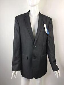 Perry Ellis Mens Size 40L Slim Fit Comfort Stretch Suit Jacket Charcoal Twill
