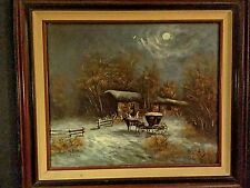 MID CENTURY HORSE CARRIAGE BEAUTIFUL LANDSCAPE OIL PAINTING SIGNED ANDRE DE JUNG