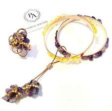 SET - Bracelet + Ring,  Citrine Amethyst Stones Rhinestones by Patricia Adelson