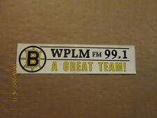 NHL Boston Bruins Vintage 1980's WPLM FM 99.1 A GREAT TEAM! Logo Bumper Sticker