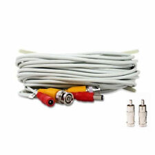 30 ft Siamese BNC RCA Video Power Cable for CCTV Security Camera System White