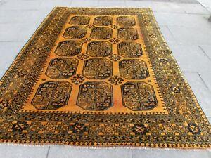 Vintage Hand Made Traditional Golden Afghan Oriental Wool Gold Carpet 282x200cm