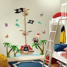 Pirate Ship Height Chart Wall Stickers Tree Nursery Baby Kids Bedroom Decals Art