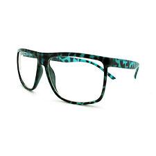 Oversized Clear Lens Glasses Nerdy Square Rectangle Eyeglasses Blue Tort