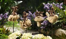 New listing Fairy Figurine on Frog Plant Pick 12 in. H Garden Flower Pot Decor Resin/Metal