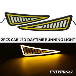 2X LED Car Universal Daytime Running Light Driving Turn Signal Strip Fog Lamp