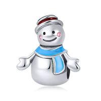 925 Sterling Silver Happy Mr Snowman Enamel Christmas Charm Fits Bracelet Chain