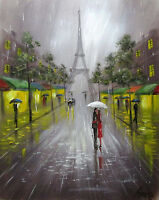 100%Hand-painted Art Oil Painting Eiffel Tower Cityscape 16*20inch  Decoration