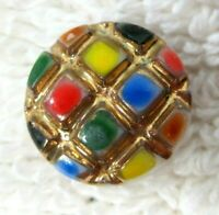 """Vintage White Glass Button Raised Grid Colorful Spots & Gold 1/2""""  Blue Green +"""
