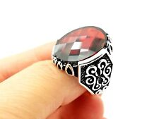 Turkish Jewelry Handmade 925 Sterling Silver Red Ruby Men's Rings Size 11.5 USA