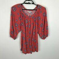 Boden Blouse Womens Size 2 Orange Gray 3/4 Sleeve Floral Viscose Top Shirt Boho