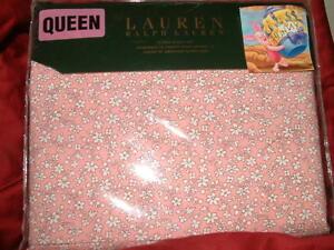 RALPH LAUREN   BABY PINK  FLORAL   4 PC QUEEN SHEET SET PILLOWCASES