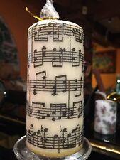 """Musica Foglio/""""MUSICA """"design A MANO DECORATO pilastro candela 15x6cm"""
