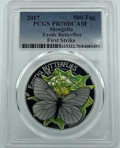 2017 PCGS PR70DCAM Mongolia Exotic Butterflies First Strike 500 Tug