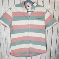 Cactus Man Ricky Singh Mens Shirt Striped Short Sleeve Pink White Slim Large