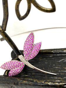 Van Cleef Arpels Design Kanaris Pink Sapphire 8.35 ctw Diamond Brooch 18k Gold