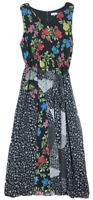 Calvin Klein size 1X dress v neck patchwork print belted chiffon maxi NEW